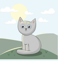 cute cat for kids print vector image