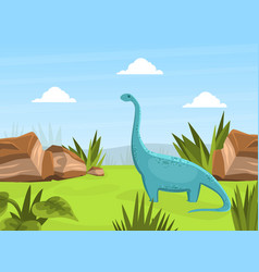 cute dinosaur on beautiful prehistoric natural vector image