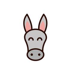 Cute face donkey animal cartoon icon vector