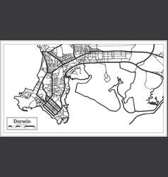 Darwin australia city map in black and white vector