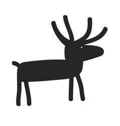 deer silhouette cartoon funny and simple vector image