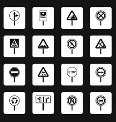 Different road signs icons set squares vector