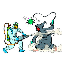 disinfection coronavirus a specialist destroys vector image