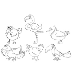 Doodle designs of two-legged creatures vector image