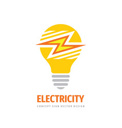 electricity logo tempale design electric lightbul vector image