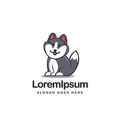 Fat cute siberian husky dog logo mascot template vector