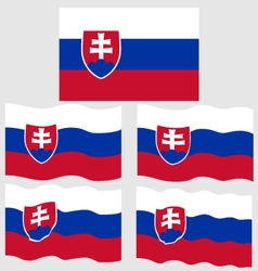 Flat and Waving Flag of Slovakia vector image