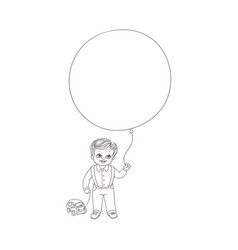 flat boy child with car toy air balloons vector image