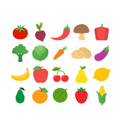 flat design fresh raw fruits and vegetables icon vector image