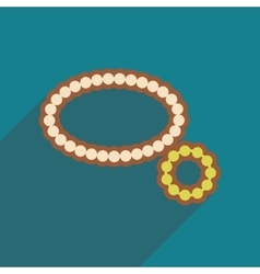 Flat icon with long shadow necklace bracelet vector