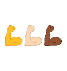 Flexible bicep muscle or strong workout icon set vector