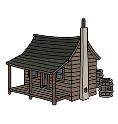 Funny old planked distillery shack vector