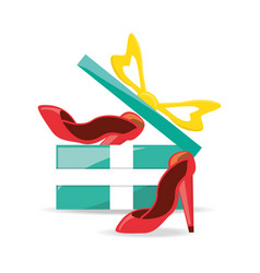 Gift with label high heel shoes shopping concept vector