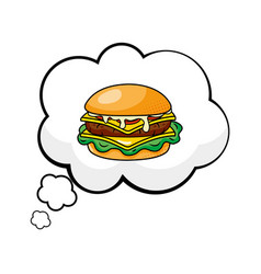 Hamburger into a speech bubble vector
