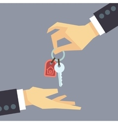 Hand giving house keys real estate buying vector