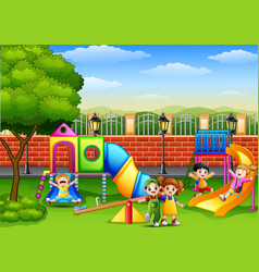 Happy children playing in the school playground vector