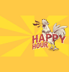 happy hour vintage influenced poster design with vector image
