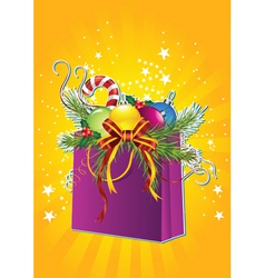 Happy new year card with christmas gift bag vector