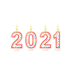 happy new year lighted candles number isolated vector image