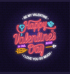 happy valentines day neon greetings card flyers vector image