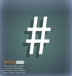 Hash tag icon On the blue-green abstract vector