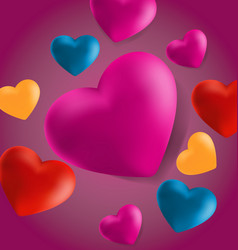Hearts in pink background7 vector