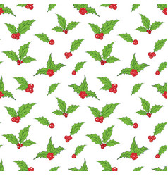 Holly leaves and red berries hand drawn sketch vector