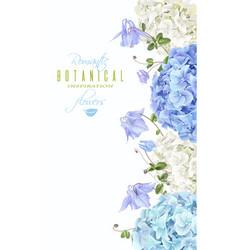 Hydrangea vertical banner blue vector