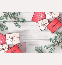 image of gifts on a background of white wooden vector image