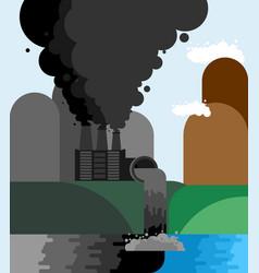 industrial landscape plant emissions into river vector image