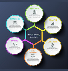 Infographic design template circular chart with 6 vector