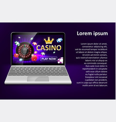 Internet casino marketing template with laptop vector