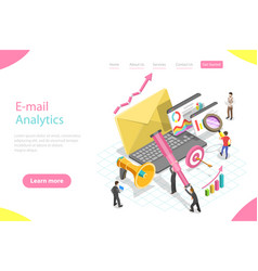 Isometric landing page template email vector