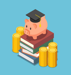 isometric piggy bank with graduation cap on the vector image
