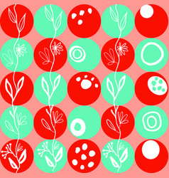 Joyful pattern of red and green circles on coral vector