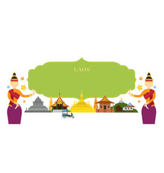 laos landmarks traditional dance frame vector image