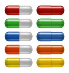 Medical pills set different colors vector image