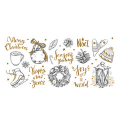 merry christmas and new year words with christmas vector image
