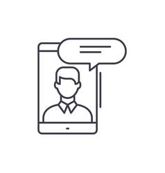 mobile conversation line icon concept mobile vector image