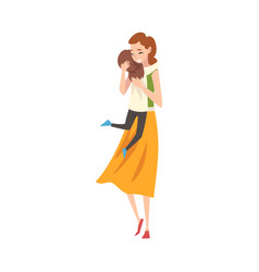 Mom and daughter cuddle cartoon vector