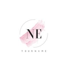 Ne n e watercolor letter logo design with vector