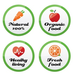 Organic food fresh and natural products icons vector image