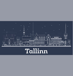 outline tallinn estonia city skyline with white vector image