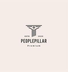 people law pillar logo hipster vintage retro icon vector image