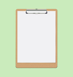 Realistic clipboard with blank white paper leaf vector