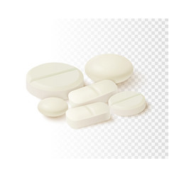 Realistic medical pills collection of oval round vector