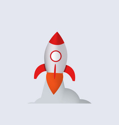 Rocket launch spaceship with red flame and vector