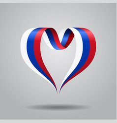 Russian flag heart-shaped ribbon vector