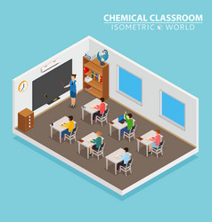 School and learning isometric concept with teacher vector