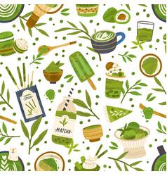 seamless pattern with green matcha powder food vector image